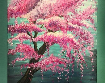 Weeping Cherry Blossom Tree Flagstaff Painting:  PRINTS AVAILABLE NOW with Artist's signature