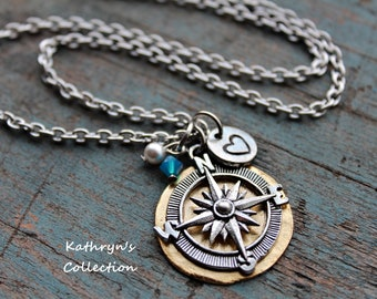 Compass Necklace, Compass Jewelry, Graduation Gift, Wanderlust, Find Your Way, Direction, Travel Jewelry, Enjoy the Journey