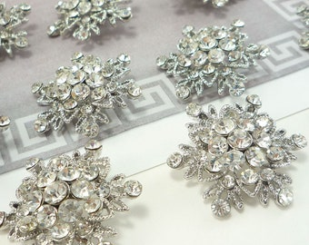 Crystal Snowflake Rhinestone Button (30mm, 10 pcs)