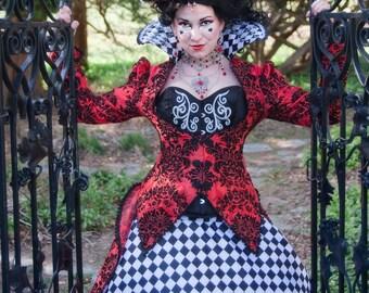 Queen of Hearts Costume   Halloween Costume, Alice in Wonderland Wedding, Womens Costume, Adult Costume, Red Queen Costume,