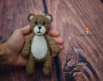 Felted Brown teddy bear Newborn photography prop