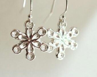 Silver snowflake earrings, sterling silver and fine silver dangle earrings, winter jewellery, christmas earrings.