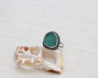 Teal Seaglass Boho Ring; Sterling Silver; Size 7 3/4