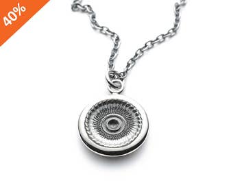 40% off GALAXIE pendant made of silver, lathe carved, long and strong chain