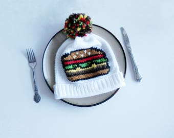 Burger Brain Knit Winter Hat with PomPom
