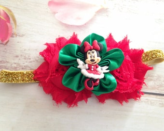 Newborn baby girls headband- Minnie Mouse headband- Christmas Holiday headband
