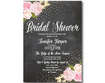 Chalkboard Bridal Shower Invitation, Chalkboard, Gold Sparkles, Floral Wedding, Chalkboard Wedding, Bridal Shower, Printed Invitation #CL127