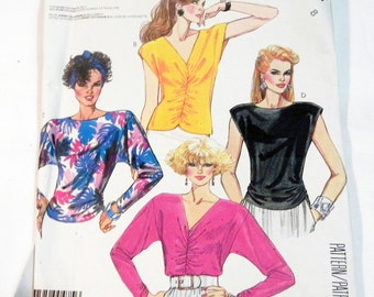 """1980s Sleeveless Blouse Dolman Sleeve Top knit sewing pattern McCalls 2582 Size 8 Bust 31.5"""" UNCUT FF"""