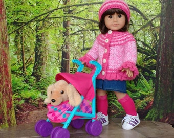 18 inch doll clothes fit like American Girl doll clothes, Hand knitted cardigan and hat and/or handmade denim skirt, knitted doll sweater.