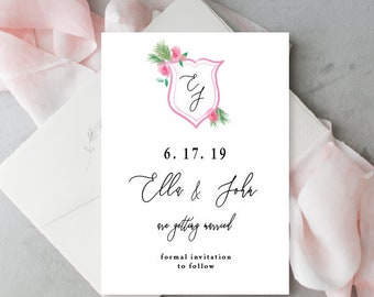 Wedding Crest Save the date, Watercolor Wedding Crest, Crest save the date,  printable save the date cards