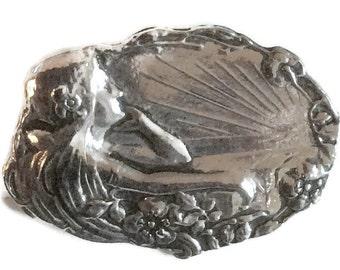 Dawn lady Aurora brooch / pin Art nouveau style silver plated
