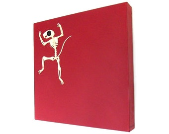Squirrel Skeleton art - original painting of a cute rodent skeleton on red background, artwork from Mark Morriss' album A Flash of Darkness