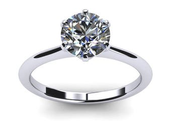 Diamond Engagement Ring, 14k 18k White Gold Engagement Ring, Round Cut Engagement Ring, 14k 18k Diamond Ring, 1.5 Carat Diamond, Color D VS2