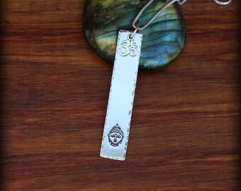 Om Buddha necklace, Yoga necklace, Buddha necklace, Ohm necklace