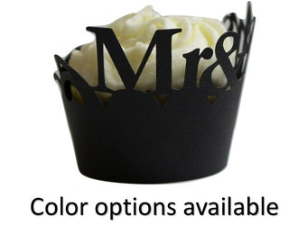 Mr & Mrs Cupcake Wrappers, Set of 12, Cupcake Decor, Handcrafted Party Decor