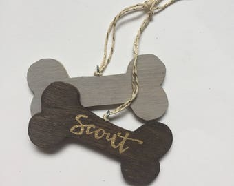 personalized dog ornament / custom dog magnet / dog bone with name / gift for pet lover / animal gift / gift for dog
