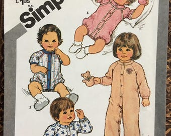 Simplicity 5431 Infant 6 months pattern for Jumpsuit and sleeper with feet NEW uncut 1981 sewing pattern