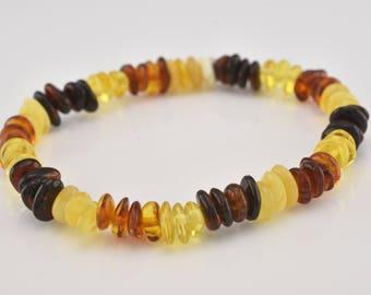 Genuine Natural Baltic Amber Children Strech Free Shape Pieces Stretch Olive Shape Bead Bracelet Elastic Wrap Multi-Color