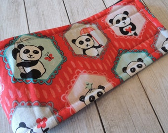 Dog Diaper Belly Band, Pandas in Red Fabric, Stop Marking with WeeWrap, Personalized, Eco-Friendly
