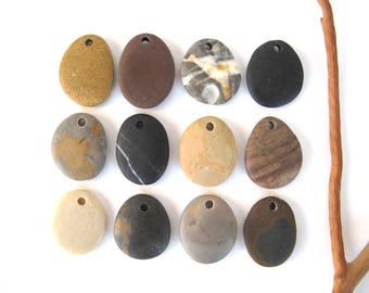 Rock Beads Mediterranean Beach Stone Beads River Stone Diy Jewellery Drilled Natural Stone Pebble Pendants EARTHY MIX 25-27 mm