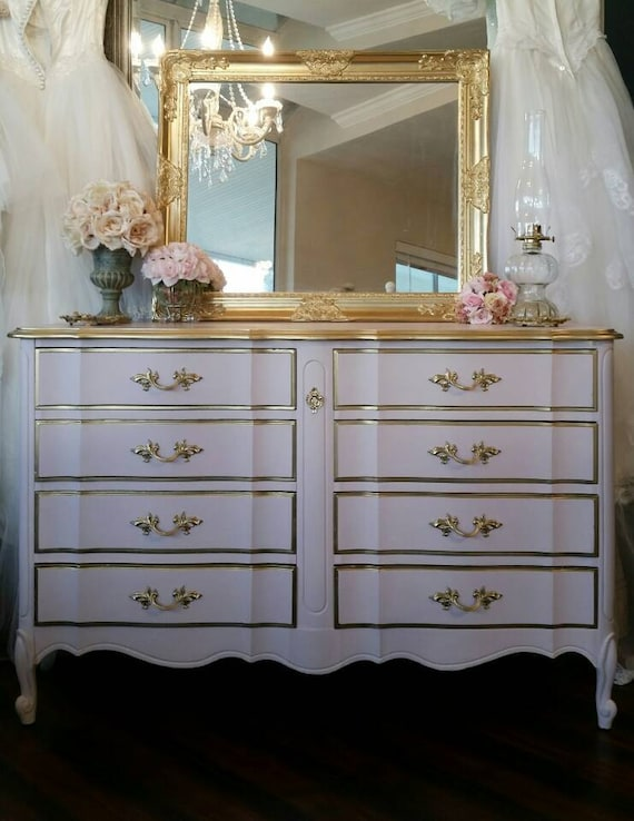 French Provincial Blush Pink U0026 Gold Dixie 8 Drawer Dresser Mirror Ornate  Nursery Bedroom Girl Romantic Glam Southern California