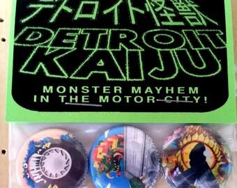 "Pete Coe's Detroit Kaiju 1"" Pinback Button Set of 3 Monsters: Giant Tire (Dadaysaur) Modern Art (Sanaamash) Creepy Eye (Fenster)"