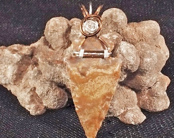 Brown and Tan Arrowhead Sterling Silver Wire-Wrapped Pendant with chain included - item #1341