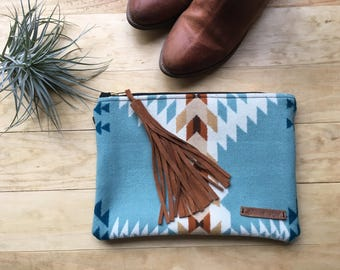 Turquoise Tribal Clutch