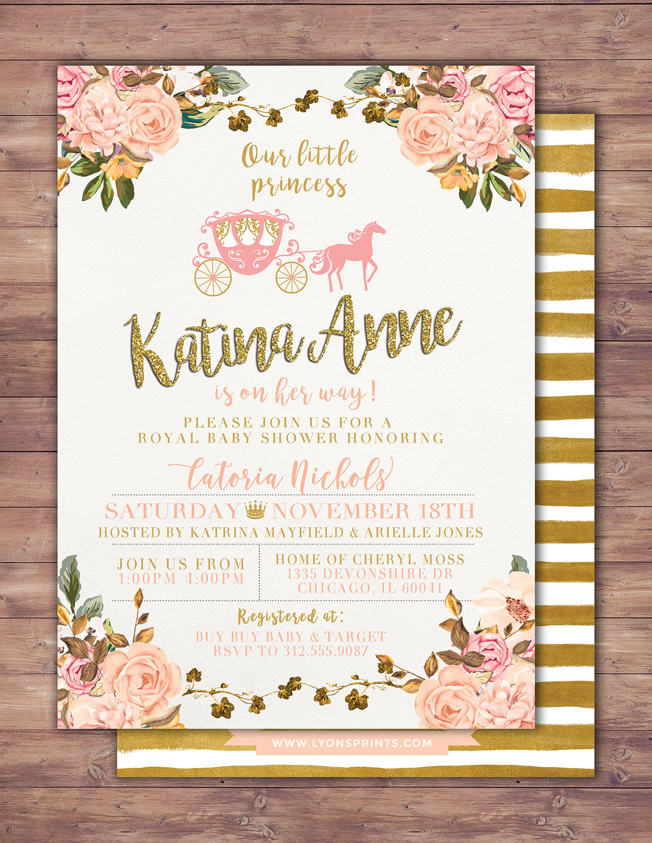Princess Baby Shower Invitation Princess Carriage Baby Shower ...