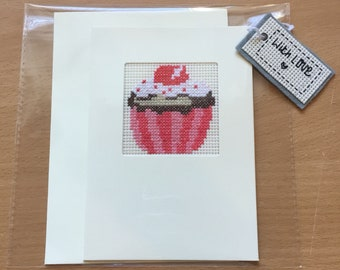 Cupcake completed cross stitch greetings card