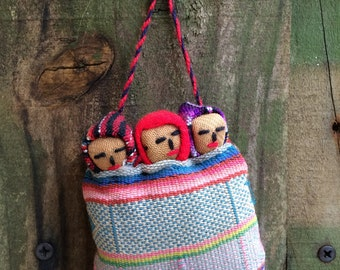 FROM PERU...native handmade ornament with vintage fabrics-christmas ornament -holiday gift -3 babies in bed-travel souvenir-Macchu Picchu