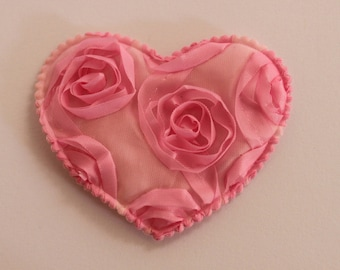 very pretty heart pink with embossed flowers
