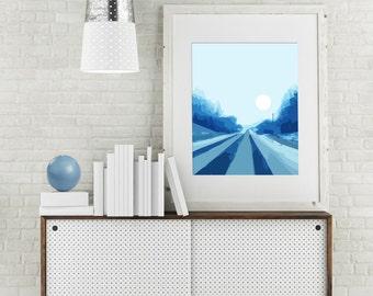 """Modern Wall Art, Mid Century Art Print, Abstract Landscape, Country Road, Blue Art, Monochrome Art, Winter Art, Prairie Art, """"Quiet Blue Rd"""""""