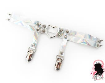 Holographic Heart Ring Garter, Holographic Silver Heart Garter, Holographic Heart Garter, Silver Heart Ring Thigh Garter, Holo Heart Garter