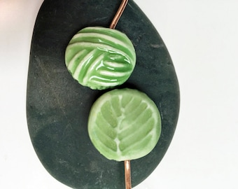 Watercolour Moss Green Yarn Ball and Leaf Shawl Pin  handmade clay knitting accessory imprinted on 2 sides