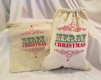 Merry Christmas Linen Drawstring Sack. Linen Holiday Bag, Christmas Linen Sack, Holiday Decor, Farmhouse Holiday Sack