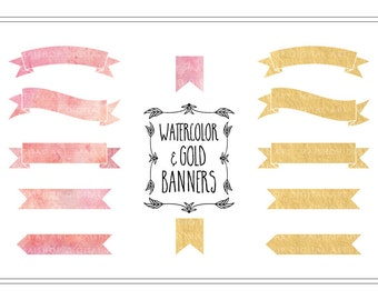 Banner Clip Art Watercolor & Gold Foil PNG Banners Pink and Golden Digital Ribbon Banners for Invitations, Scrapbooking, Crafts...