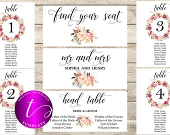 Floral Wedding seating chart templates printable,boho wedding seating chart template,Floral Wedding find your seat template,table numbers,40