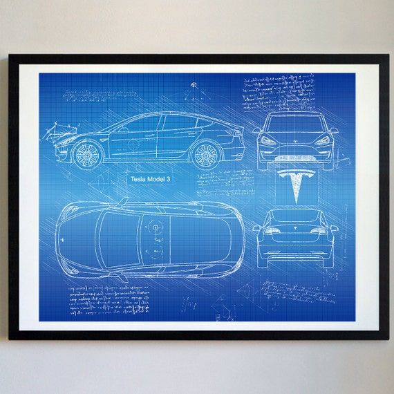 Tesla model 3 2018 da vinci sketch tesla artwork blueprint malvernweather Choice Image