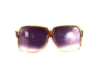 Vintage Oversized Square Amber Frame Gray Lenses Sunglasses by Foster Grant