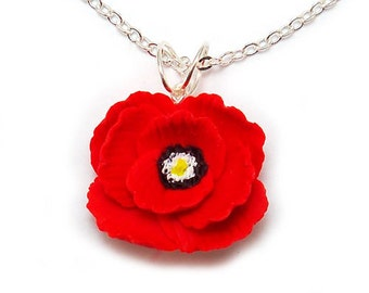 Poppy Necklace - Silver Gold or Antique Brass, Poppy Jewelry