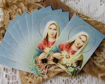 10 Vintage GILDED Mini Holy Cards of the Blessed Virgin Mary - Prayer Card  - Buy More, Save More   (DR-007, W-09)