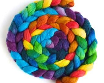 Merino/ Silk Roving (Top) - Handpainted Spinning or Felting Fiber, Color Hubbub