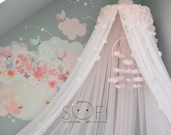 Light Pink Canopy | Kids Baby Canopy | Cot Crib Canopy | Kids Decor Room | Hanging Canopy | Flower Canopy | 2018 Design