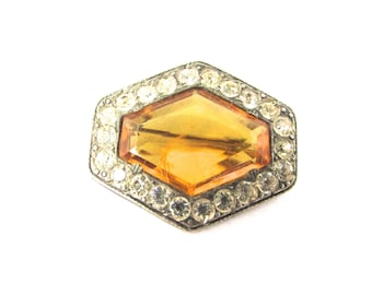Pave Rhinestone Glass Brooch Pin Topaz Art Deco Supply Assemblage Jewelry