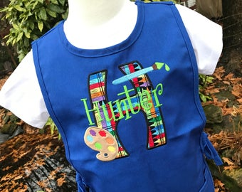 Boys Art Smock - Personalized Kids Art Smock - Paint Palette Design - Childrens Art Smock - Art Smock for School - Gifts for Kids