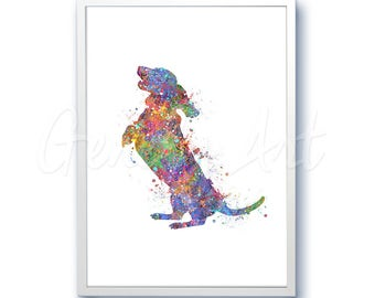 Dachshund Standing Watercolor Art Print  - Home Living - Animal Painting - Dog Poster - Wall Decor - Home Decor - House Warming Gift