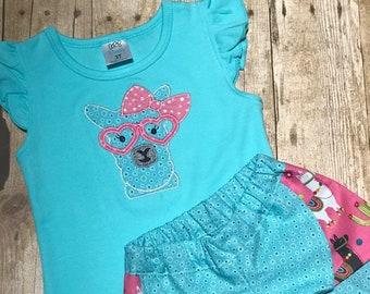 Llama short and shirt, girls short set, toddler short set