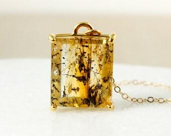 Gold Dendritic Quartz Pendant Necklace – Square Dendritic Quartz Necklace