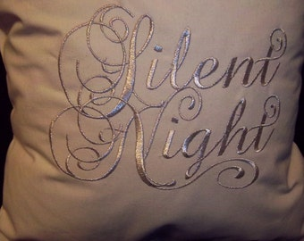 Embroidered Silent Night/ Holy Night Christmas Pillow Pair